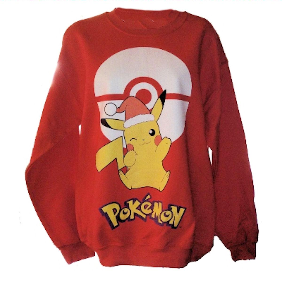 Pokemon Pikachu Mens Red Christmas Sweatshirt Large