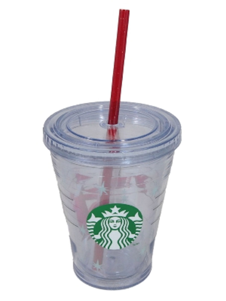 Starbucks 2012 Holiday Cold Cup Tumbler Tall 12 fl oz New Logo (with red straw)