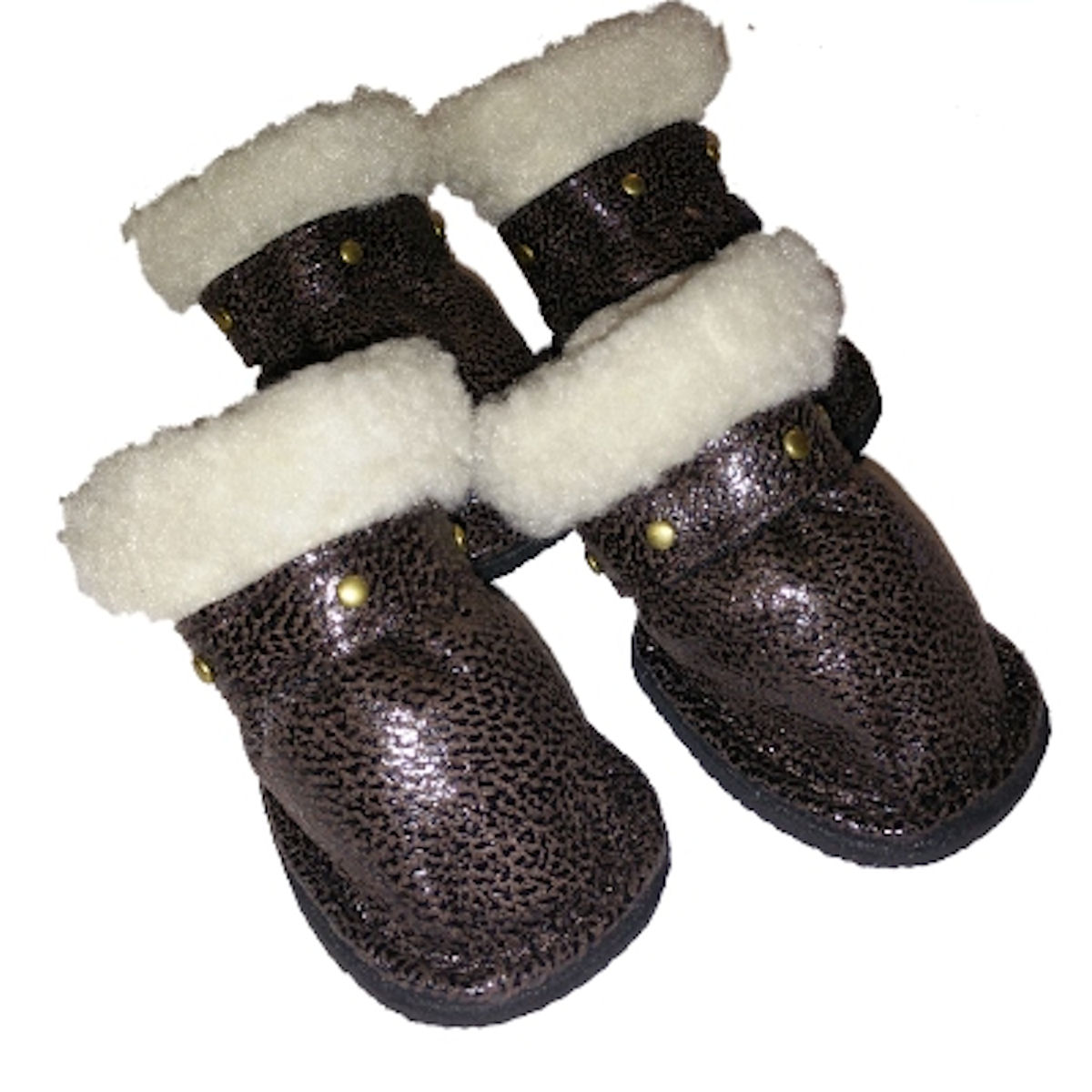 SimplyDog Brown Stud Faux Leather Dog Booties (S/M)