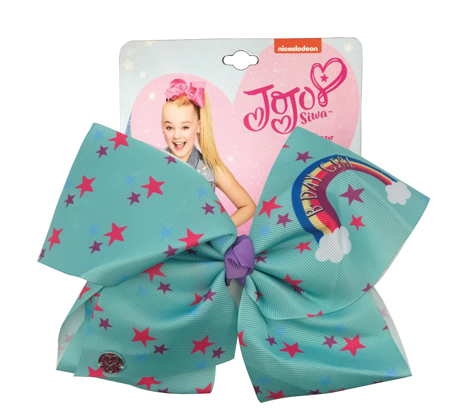 JoJo Siwa Large Cheer Hair Bow (B-Day Girl Green Stars)