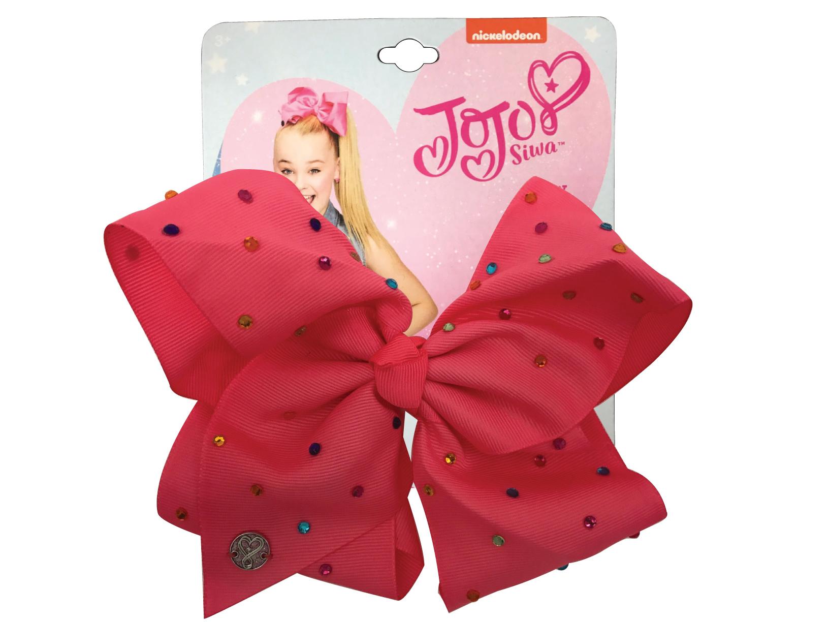 JoJo Siwa Large Cheer Hair Bow (Coral Pink w/Colored Rhinestones)