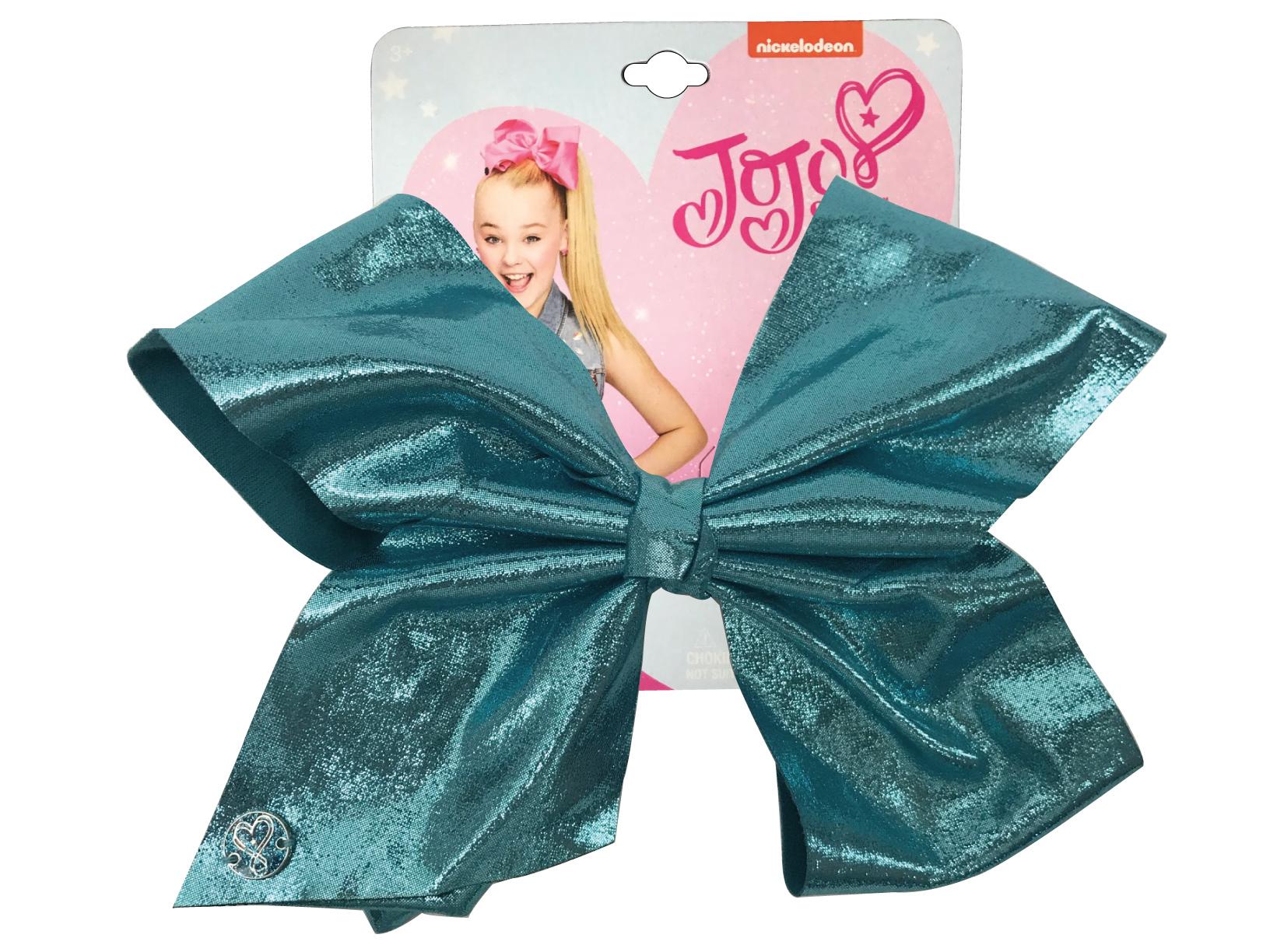 JoJo Siwa Large Cheer Hair Bow (Turquoise Glitter)