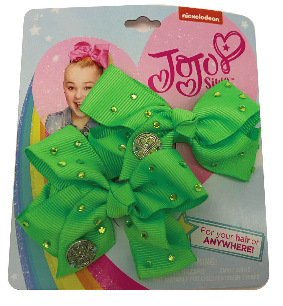 JoJo Siwa Small Hair Bow Set (Green Rhinestone)