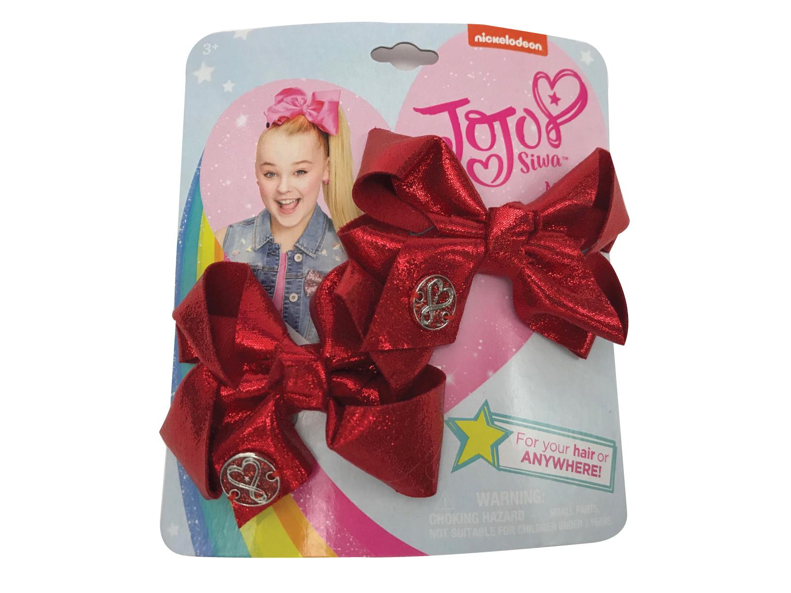 JoJo Siwa Small Hair Bow Set (Red Metallic)