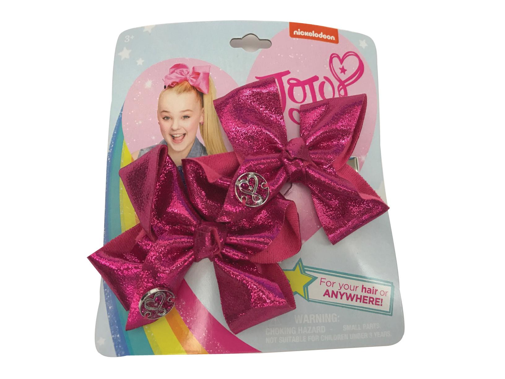 JoJo Siwa Small Hair Bow Set (Fuscia Pink Metallic)