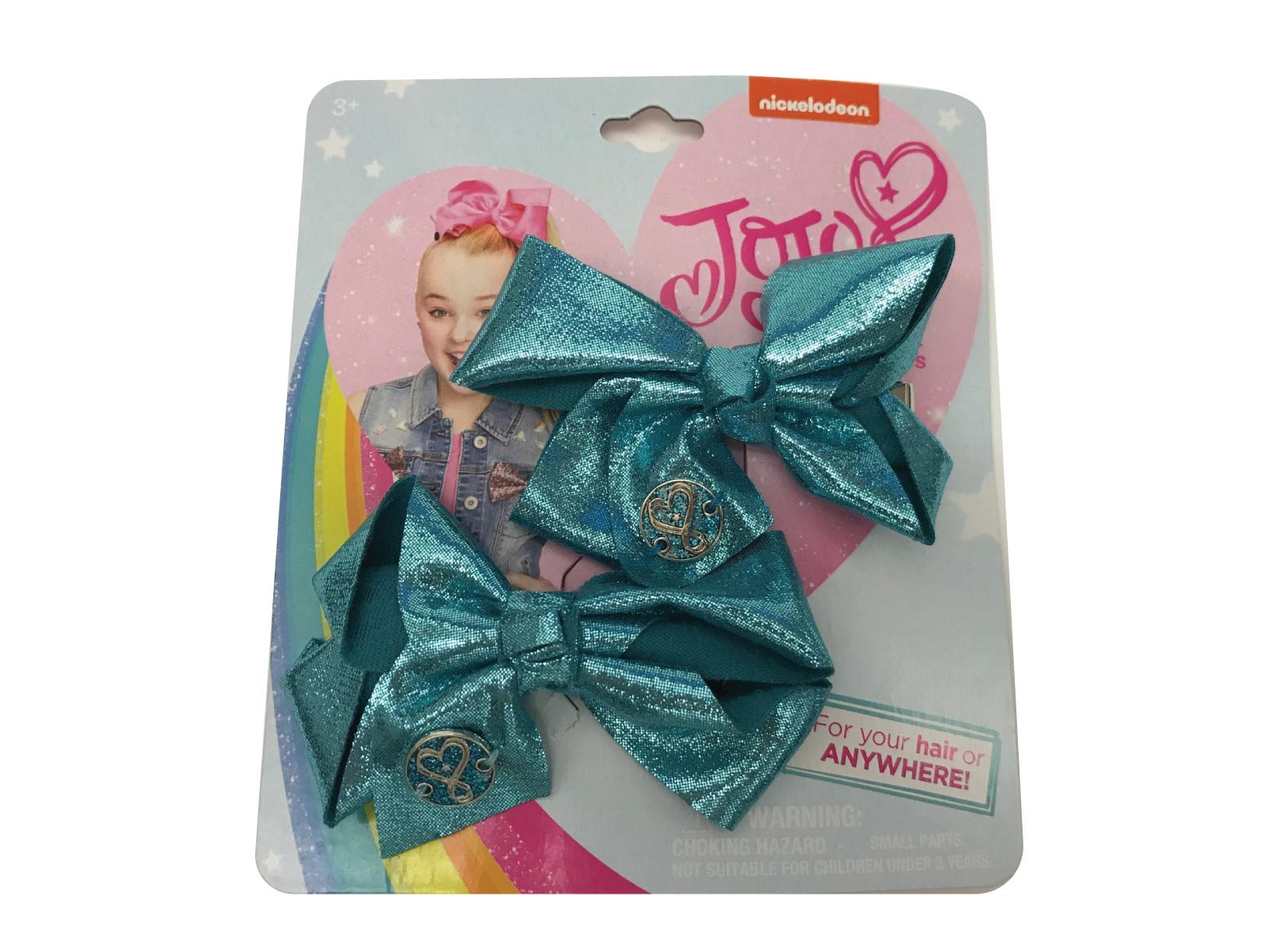 JoJo Siwa Small Hair Bow Set (Turquoise Metallic)