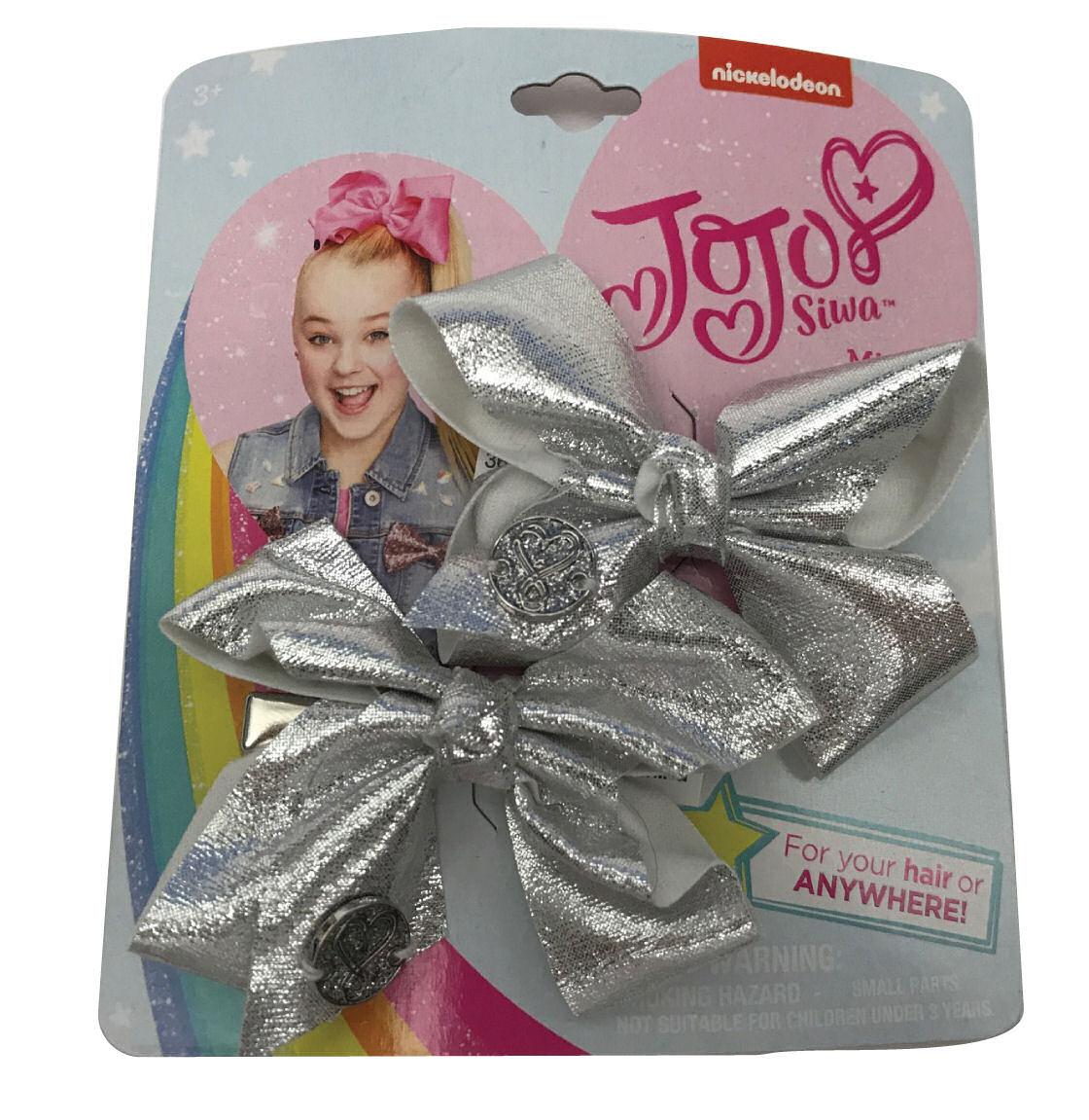 JoJo Siwa Small Hair Bow Set (Silver Metallic)