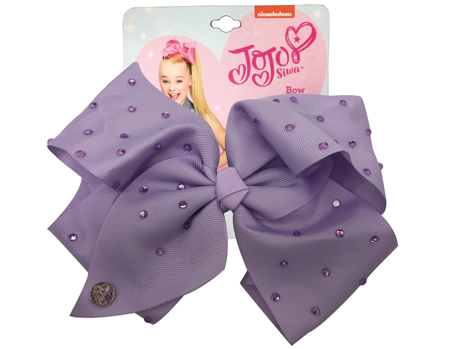 JoJo Siwa Large Cheer Hair Bow (Purple w/Purple Rhinestones)