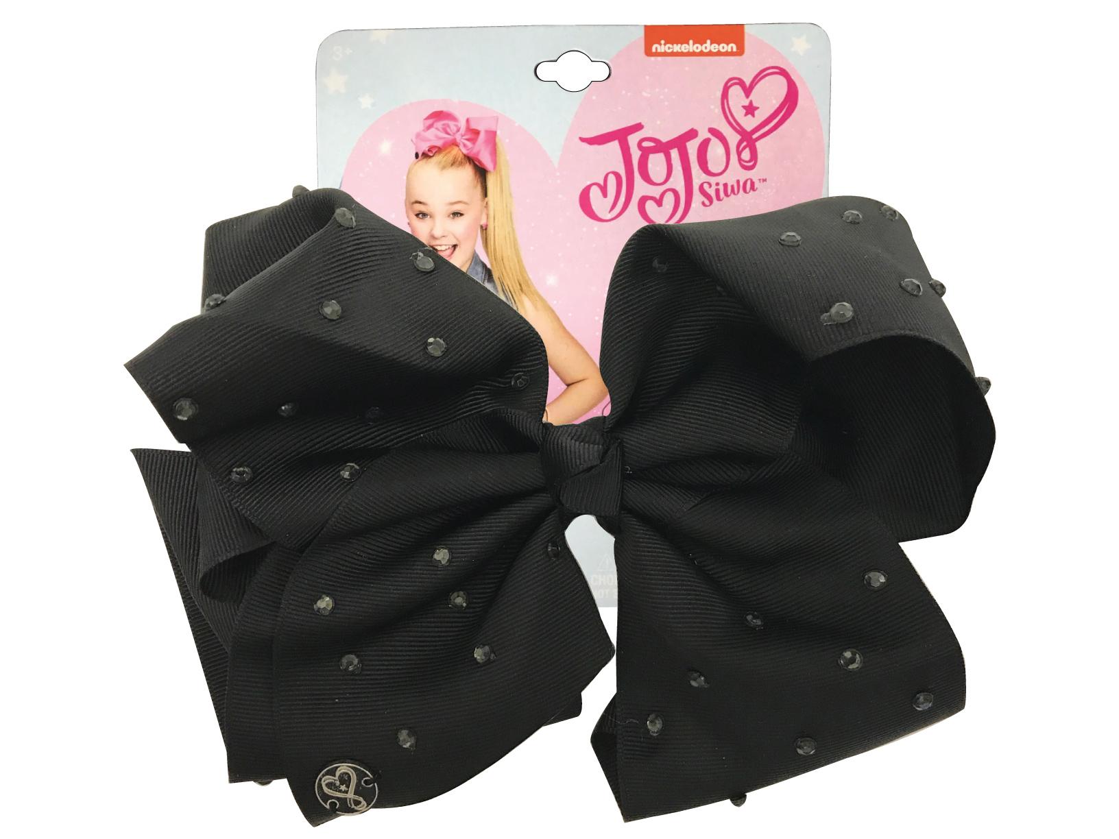 JoJo Siwa Large Cheer Hair Bow (Black with Rhinestones)