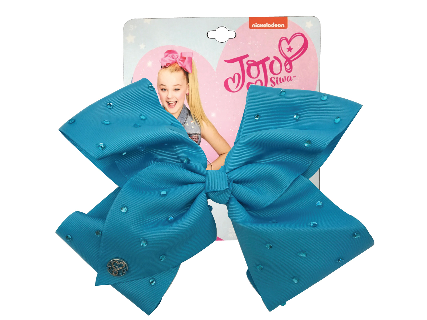 JoJo Siwa Large Cheer Hair Bow (Turqoise w/Rhinestones )