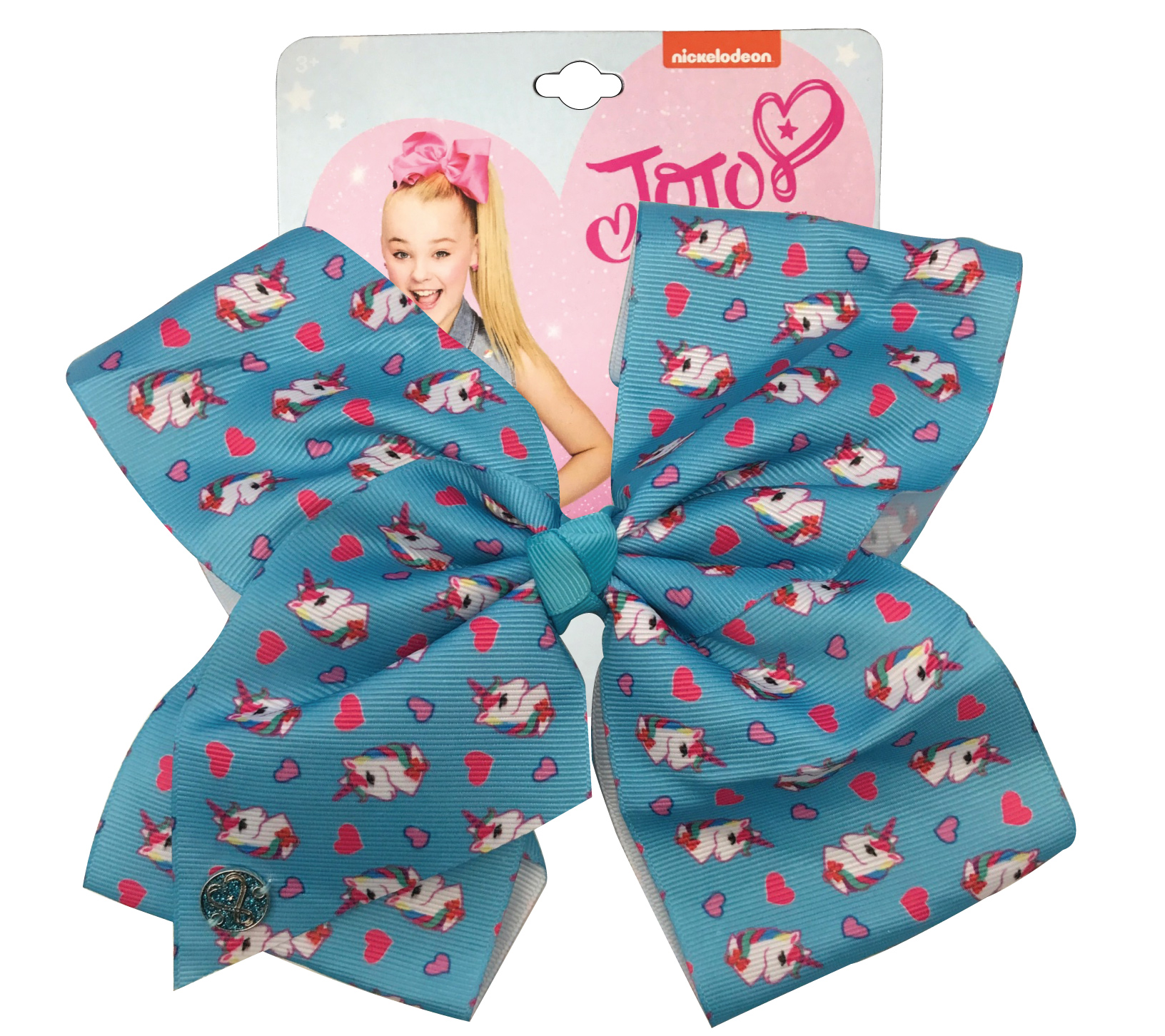 JoJo Siwa Large Cheer Hair Bow (Blue Unicorns)