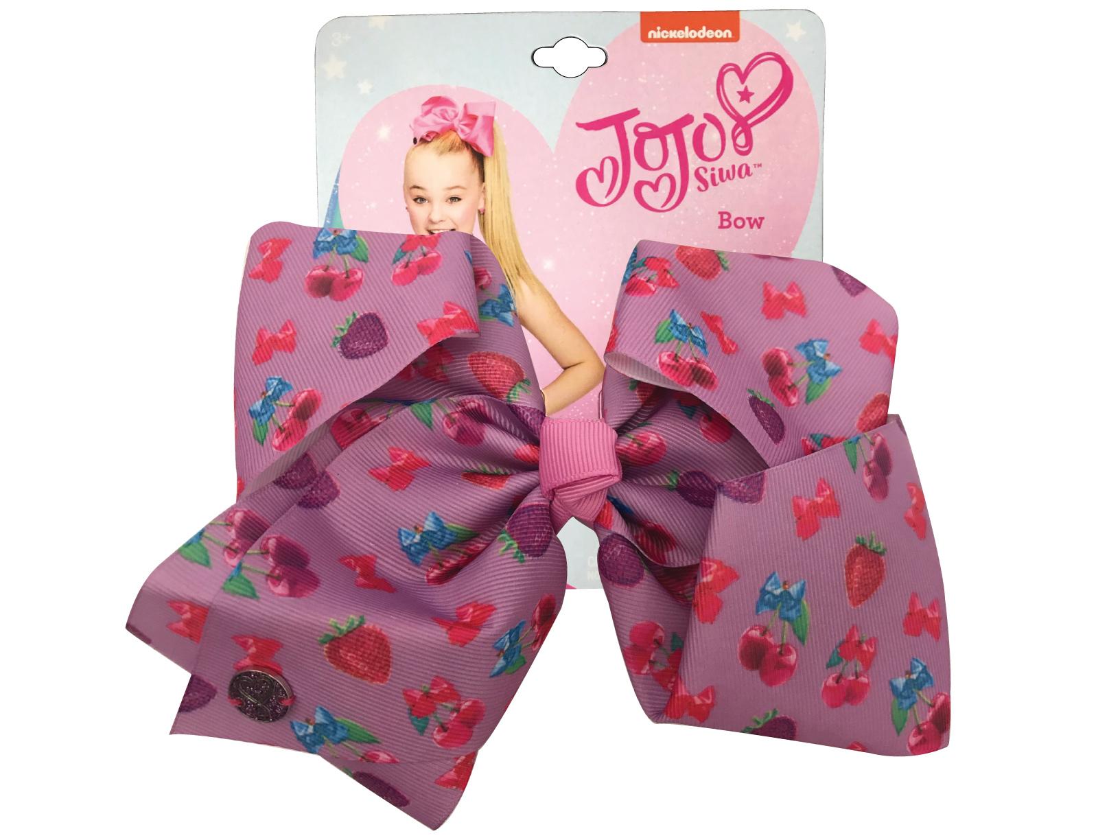JoJo Siwa Large Cheer Hair Bow (Purple Strawberry & Cherry)