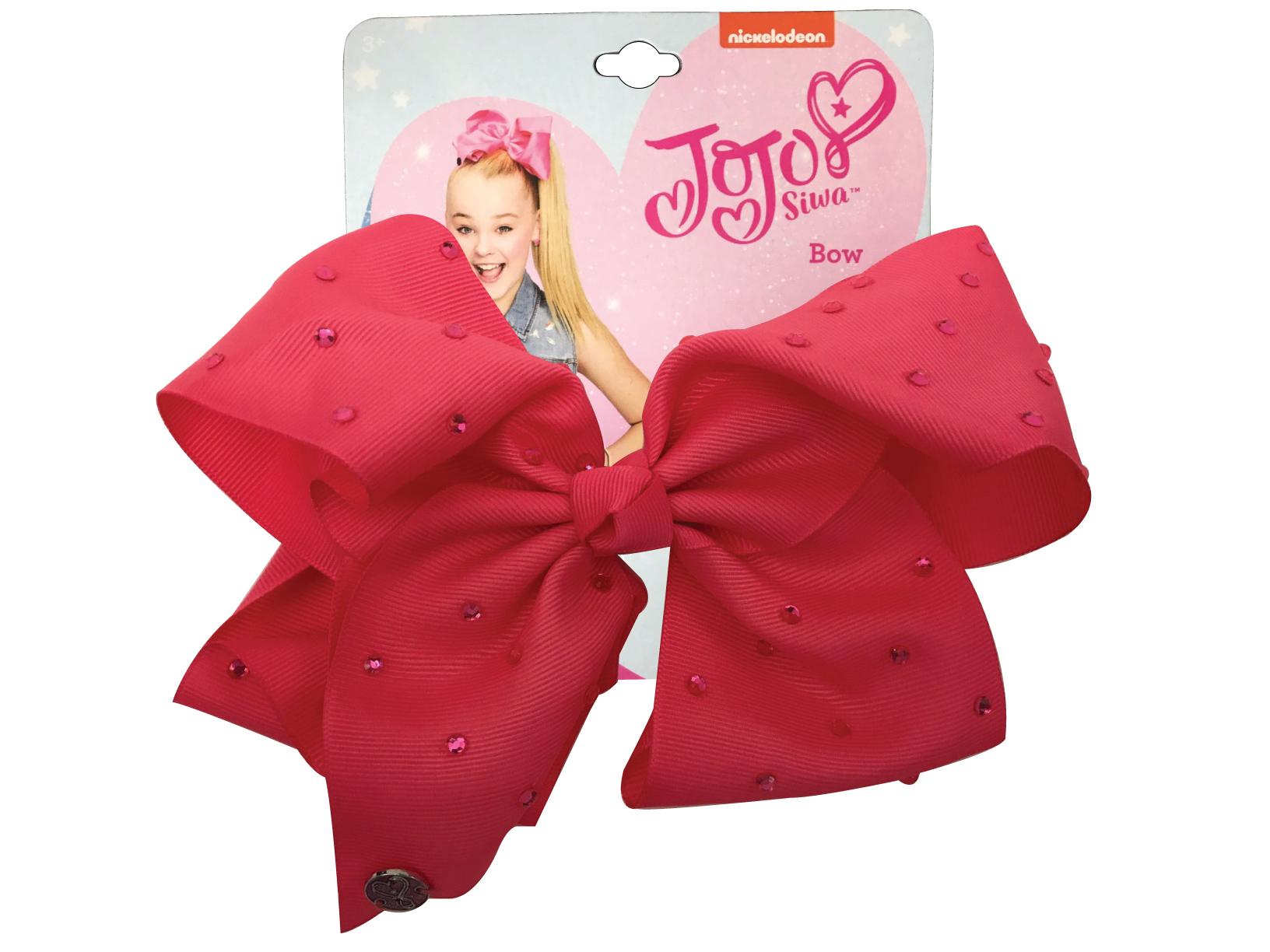 JoJo Siwa Large Cheer Hair Bow (Coral Pink w/Rhinestones)