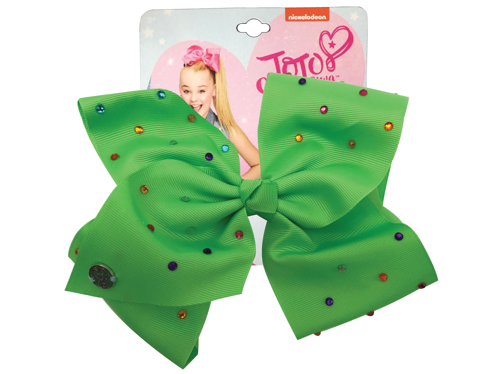JoJo Siwa Large Cheer Hair Bow (Neon Green w/Rhinestones)