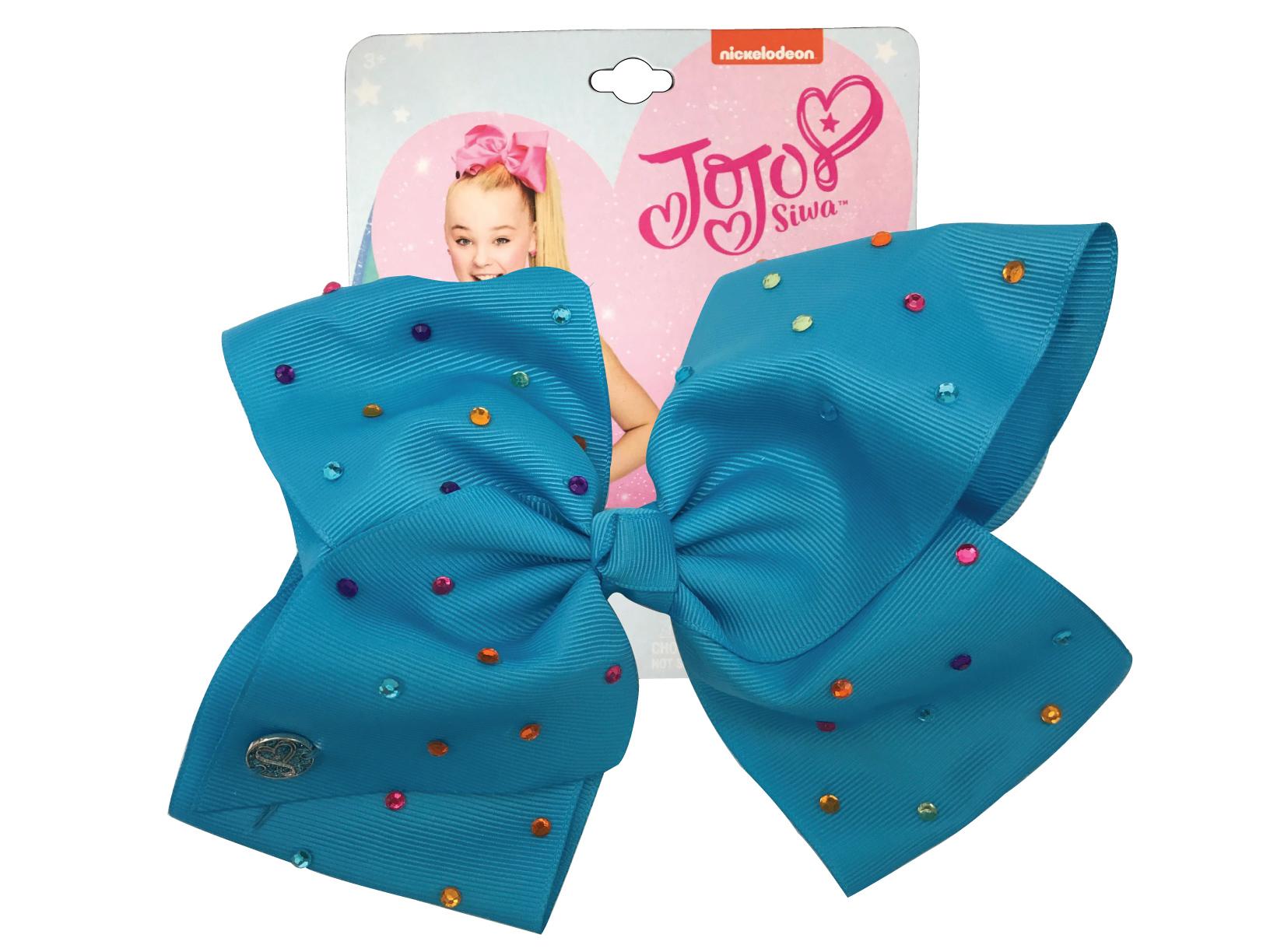 JoJo Siwa Large Cheer Hair Bow (Turquoise w/Colored Rhinestones)