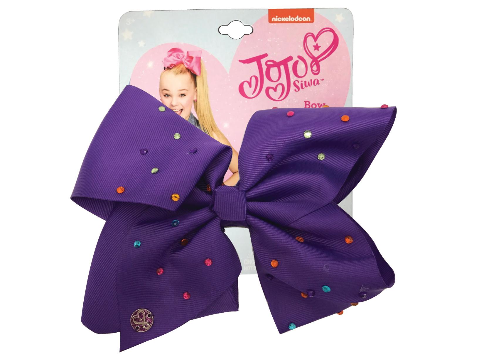 JoJo Siwa Large Cheer Hair Bow (Purple w/Colored Rhinestones)