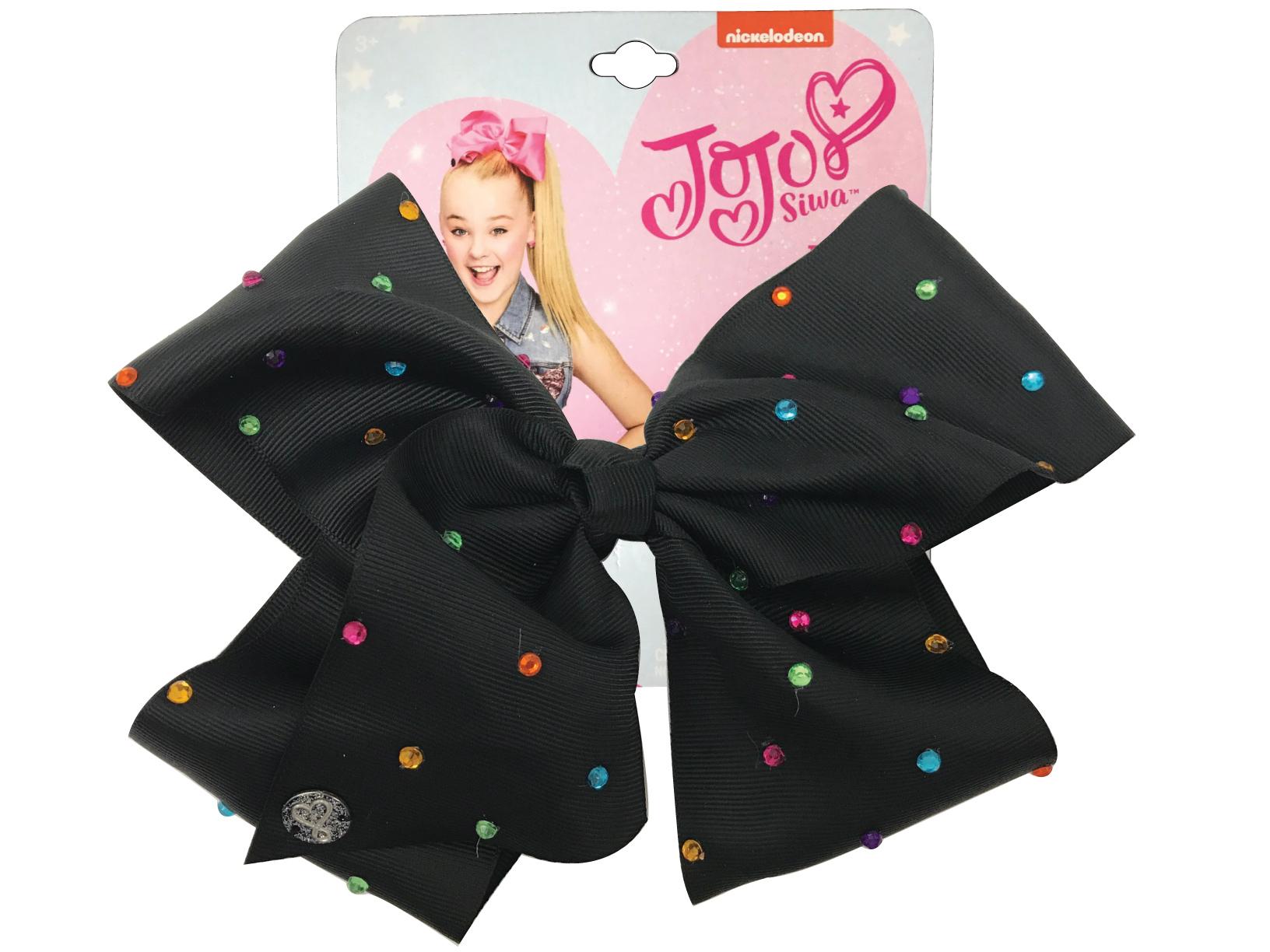 JoJo Siwa Large Cheer Hair Bow (Black w/Colored Rhinestones)