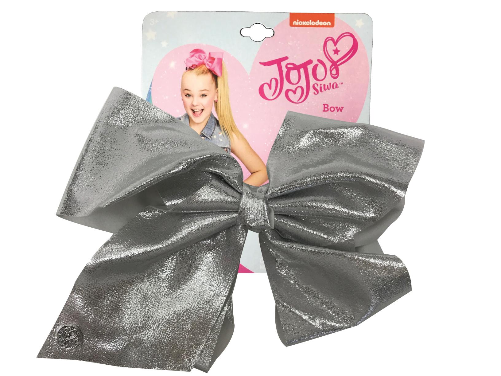 JoJo Siwa Large Cheer Hair Bow (Silver Glitter)