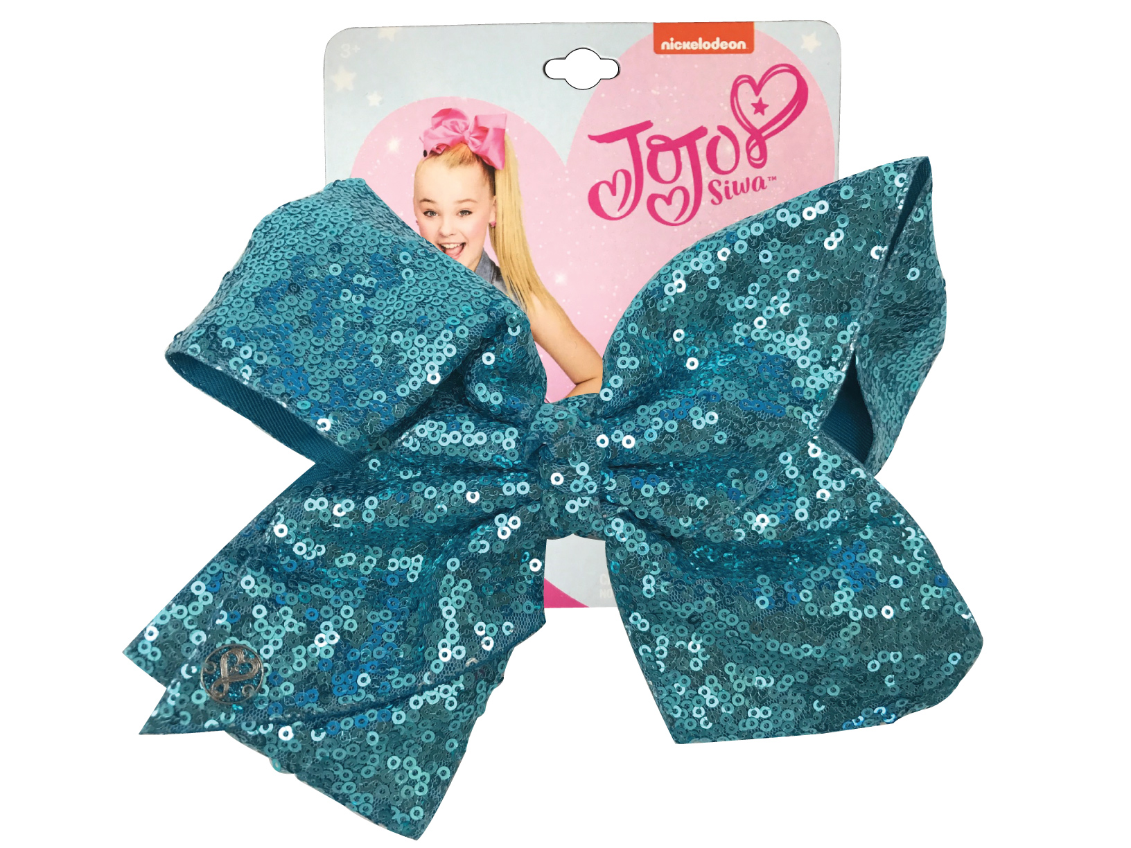 JoJo Siwa Large Cheer Hair Bow (Turquoise Sequined)