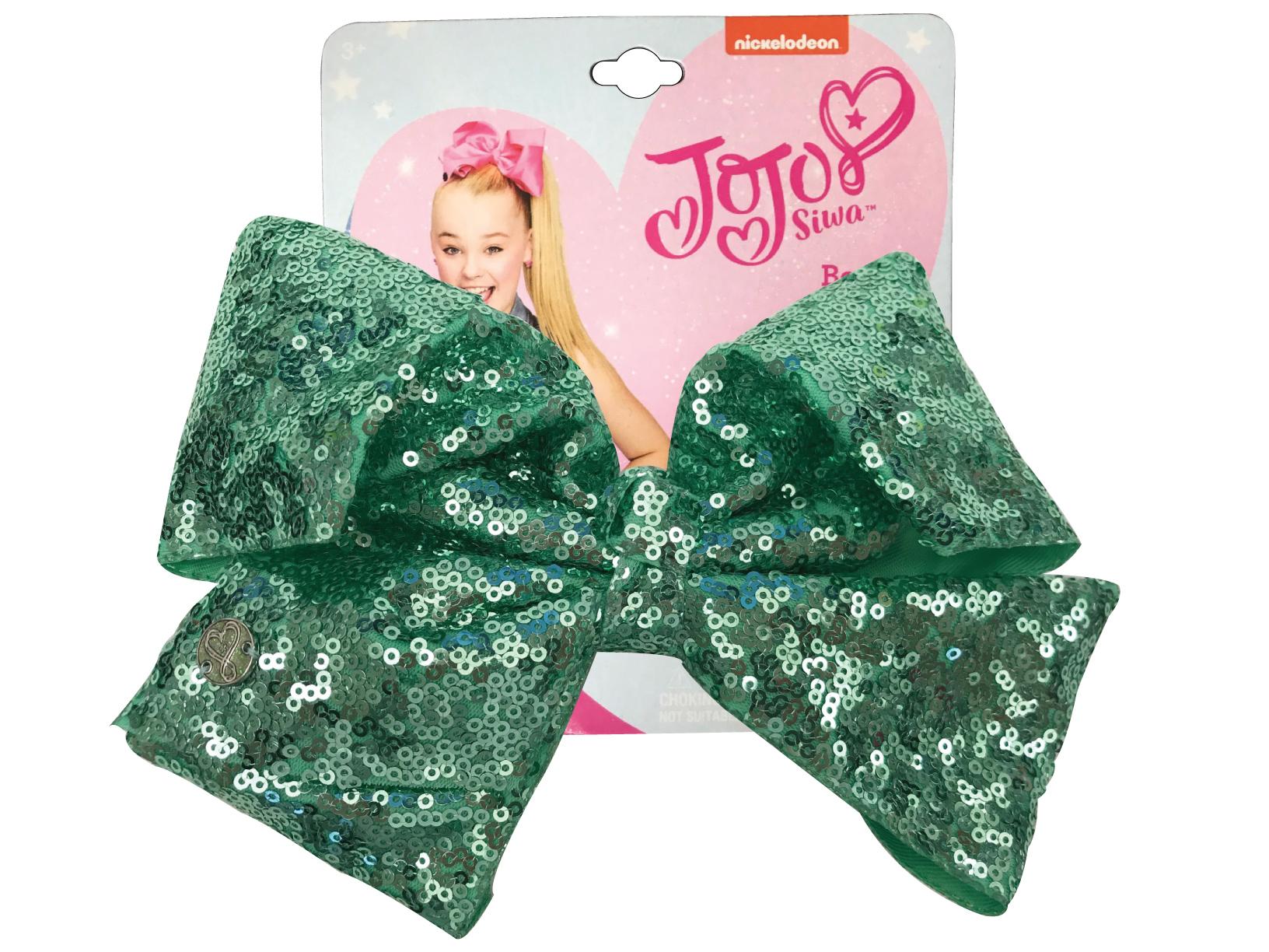 JoJo Siwa Large Cheer Hair Bow (Seafoam Green Sequined)