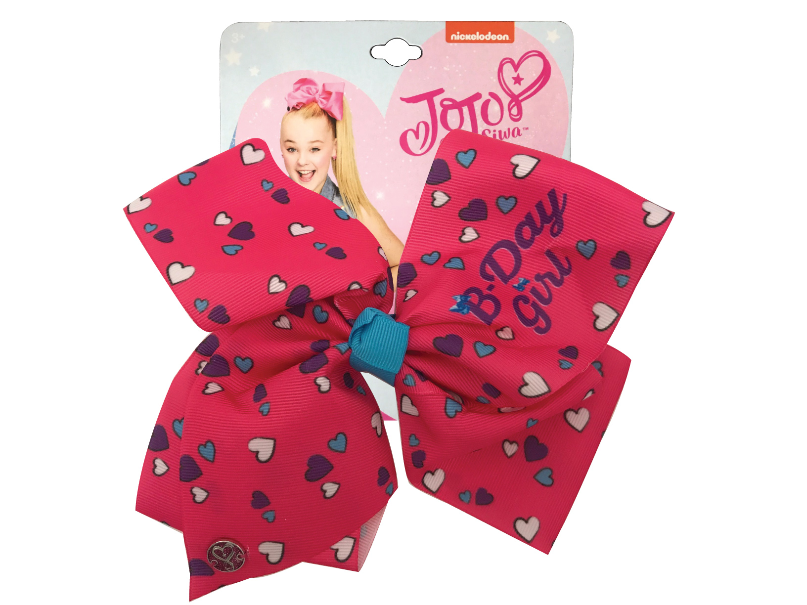 JoJo Siwa Large Cheer Hair Bow (B-Day Girl Pink Hearts)