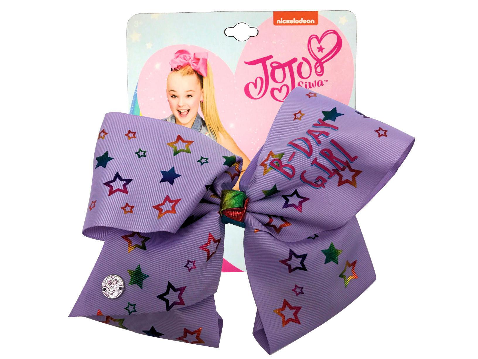 JoJo Siwa Large Cheer Hair Bow (B-Day Girl Purple Stars)