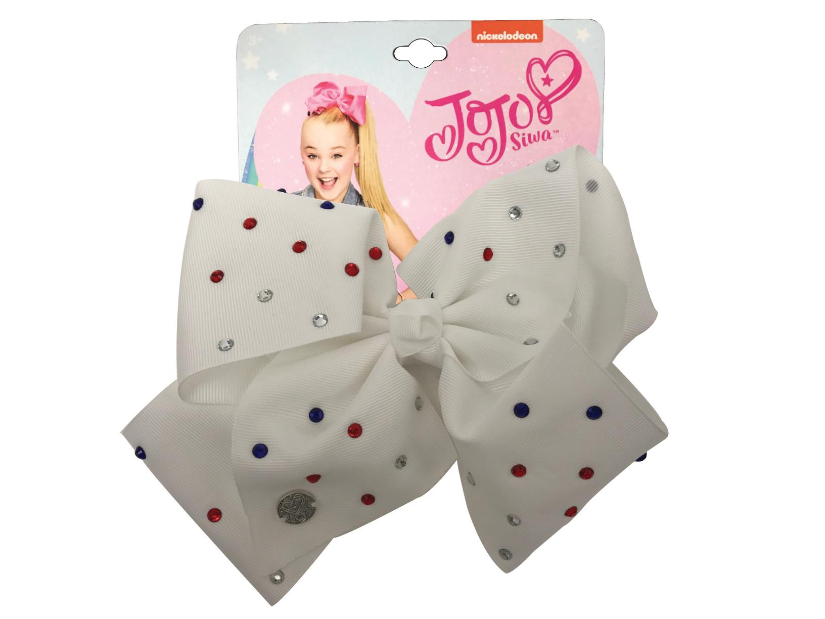 JoJo Siwa Large Cheer Hair Bow (White w/Colored Rhinestones)