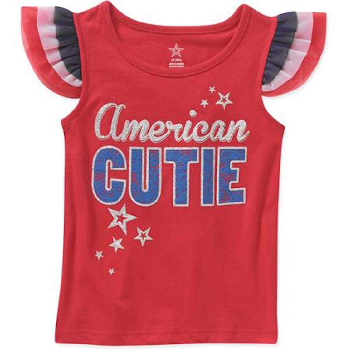 Patriotic American Cutie Infants Toddler Girls Flutter Tank (4T)