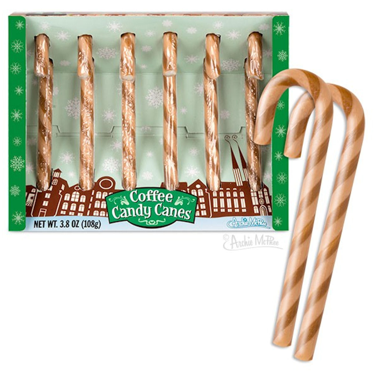Coffee Candy Canes 3.8 Ounce 6 Pack