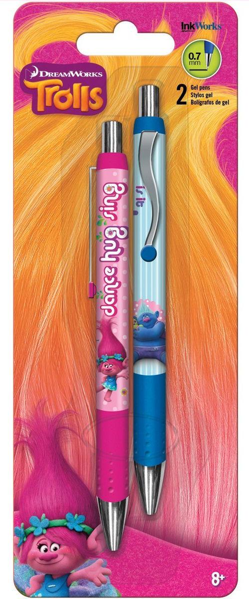 Ink Works Trolls Gel Pens 0.7mm 2/Pkg-Pink & Blue