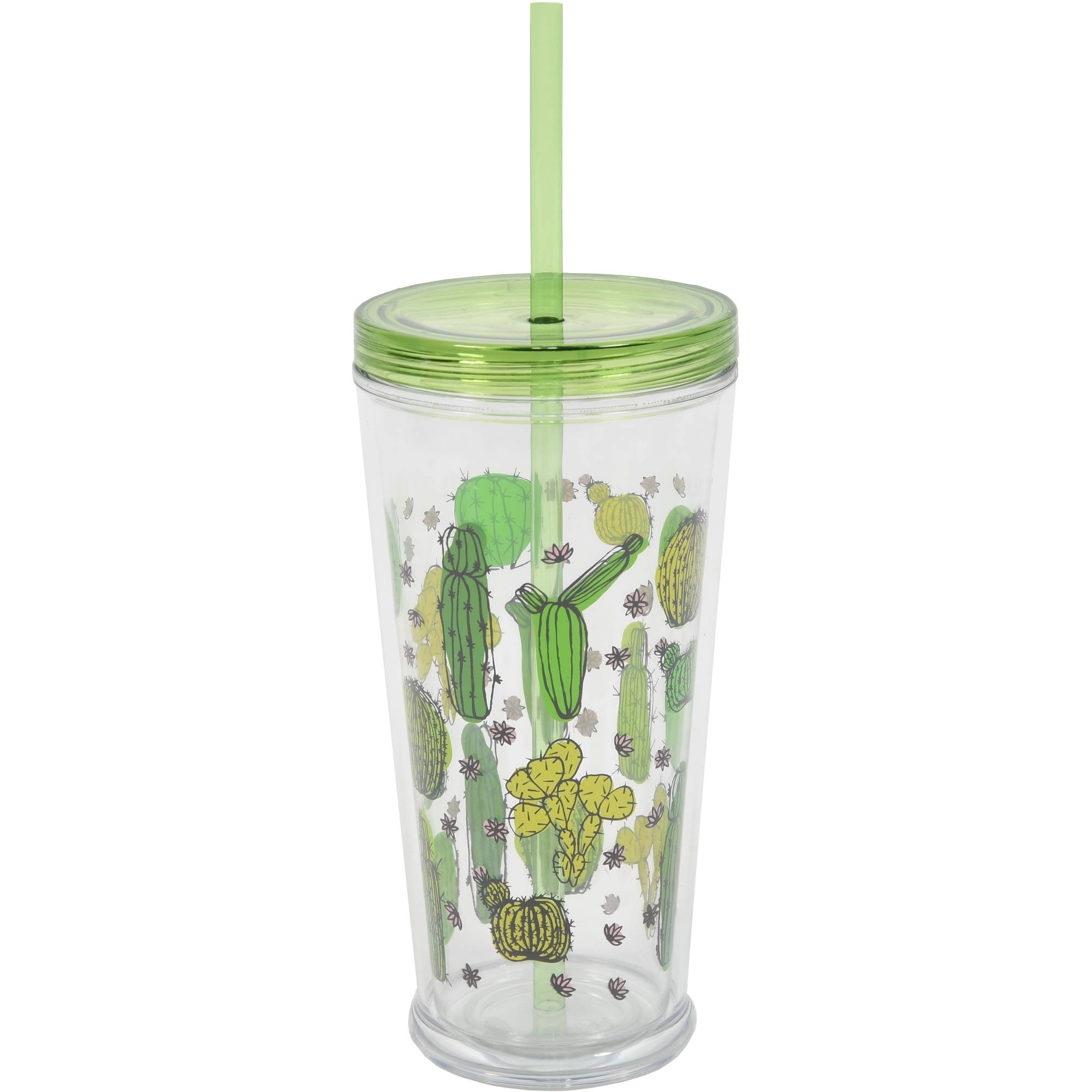 Mainstays 24oz Double Wall Drink Tumbler Cactus