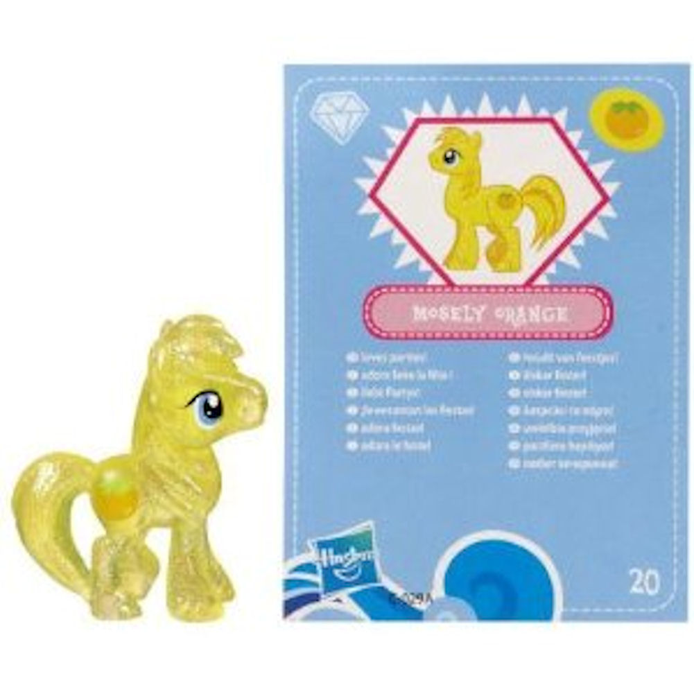 My Little Pony Friendship is Magic 2 Inch PVC Figure Glitter Mosely Orange Blue Card