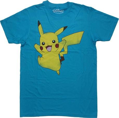 Hybrid Men's Pokemon Pikachu Jump Short Sleeve T-Shirt, Turquoise, X-Large