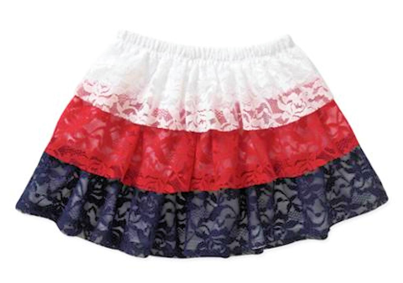 Patriotic Red White and Blue Infant Toddler Girls Lace Skort (12M)