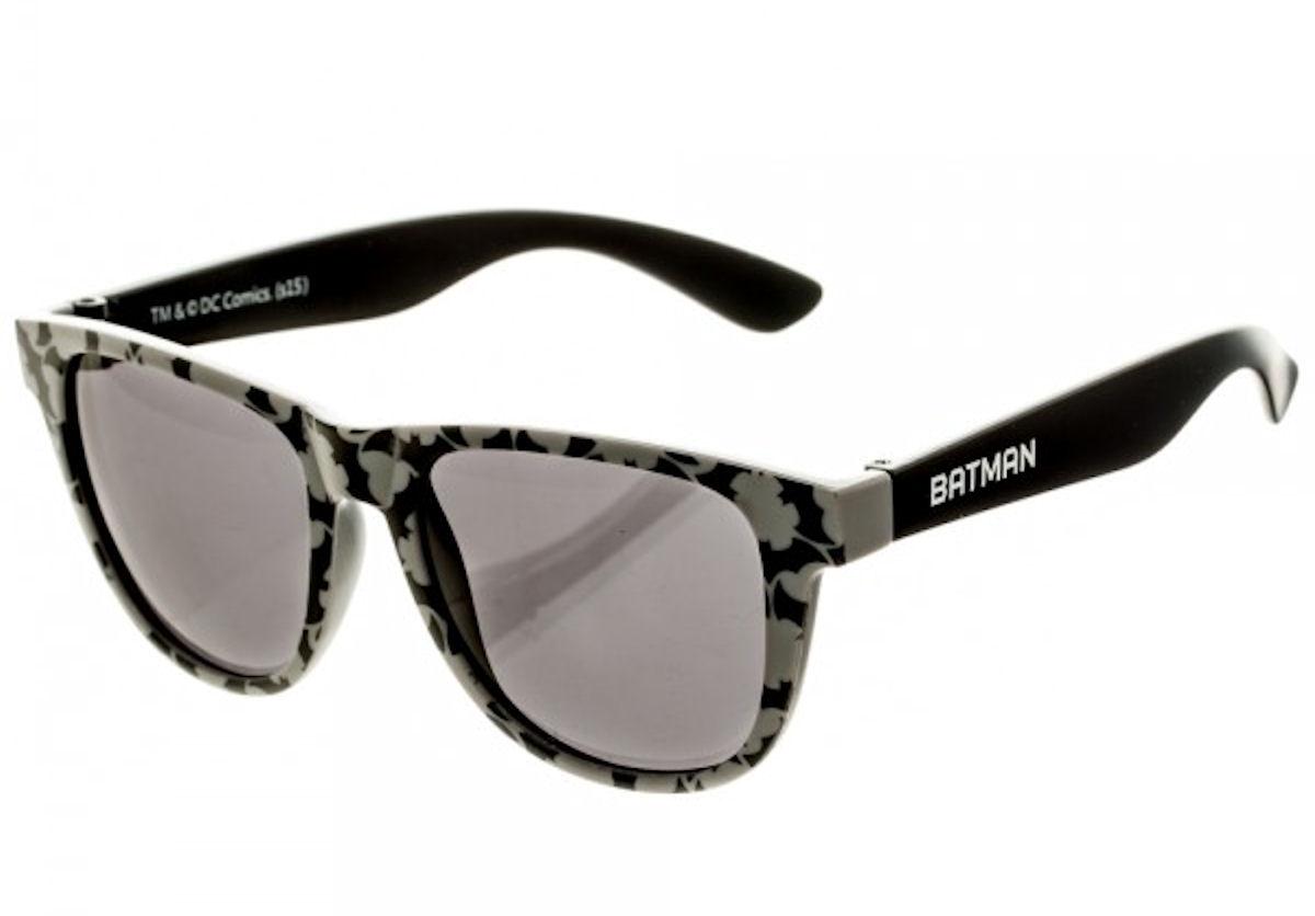 DC Comics Batman Logo Patterned Wayfarer Sunglasses w/ Case