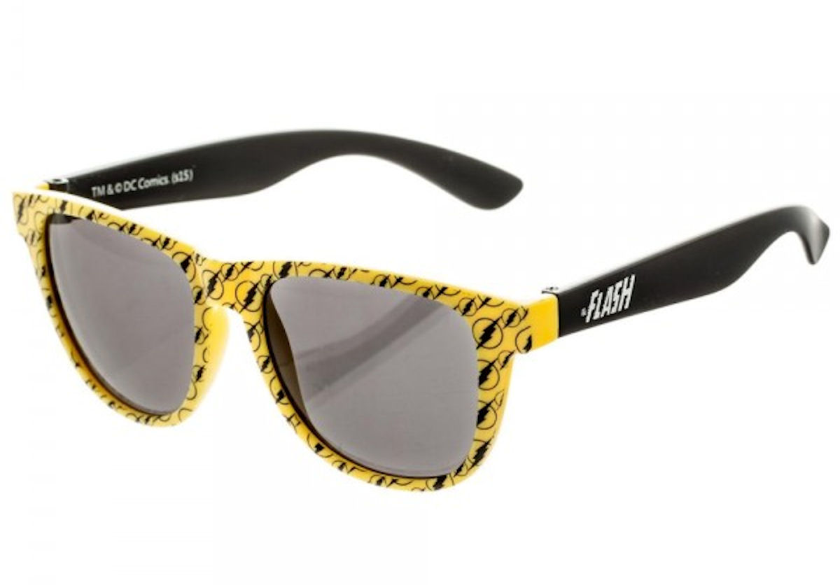 The Flash Logo Pattern Sunglasses w/ All Over Print Pouch Case