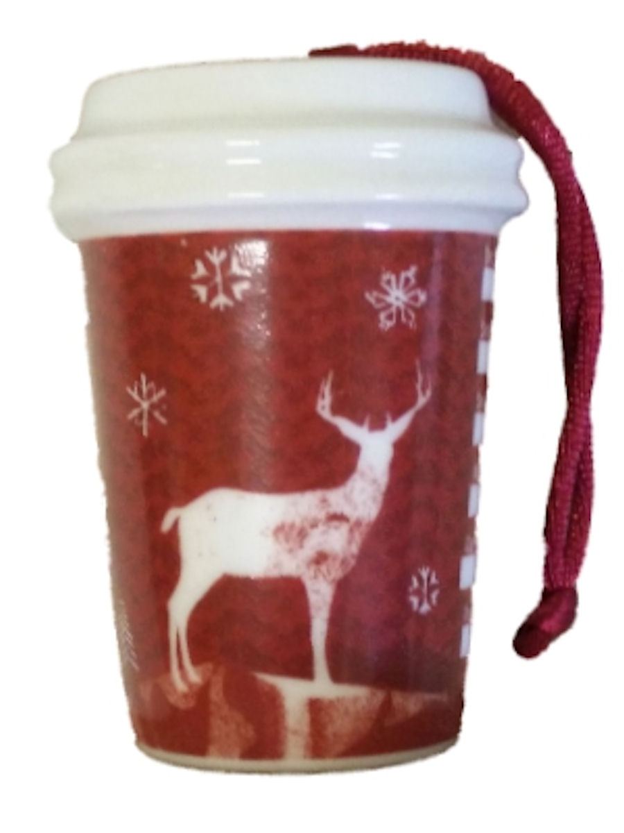 Starbucks Christmas Ornament Red Ceramic Mini Cup 2008