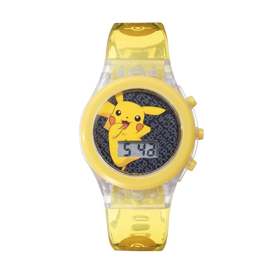 Pokemon Kids Watch Pikachu Clear Light Up Yellow Strap