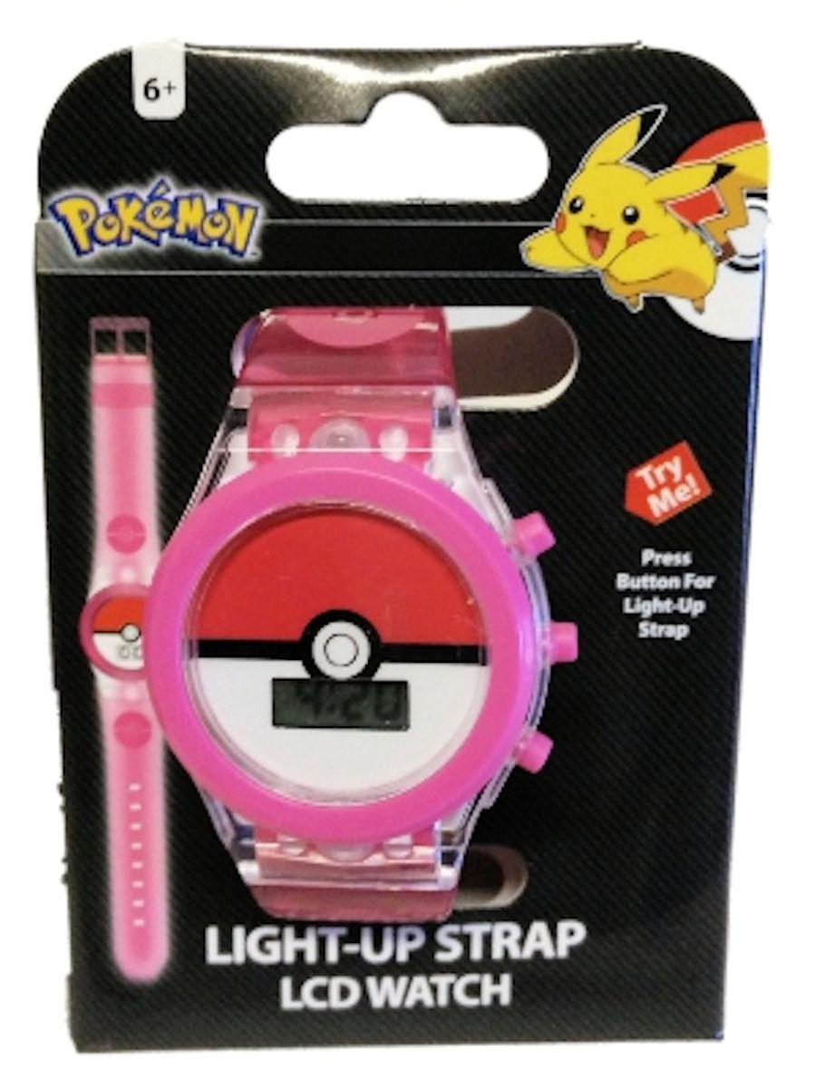 Pokemon Girls Watch Pokeball Pink Clear Light Up Strap
