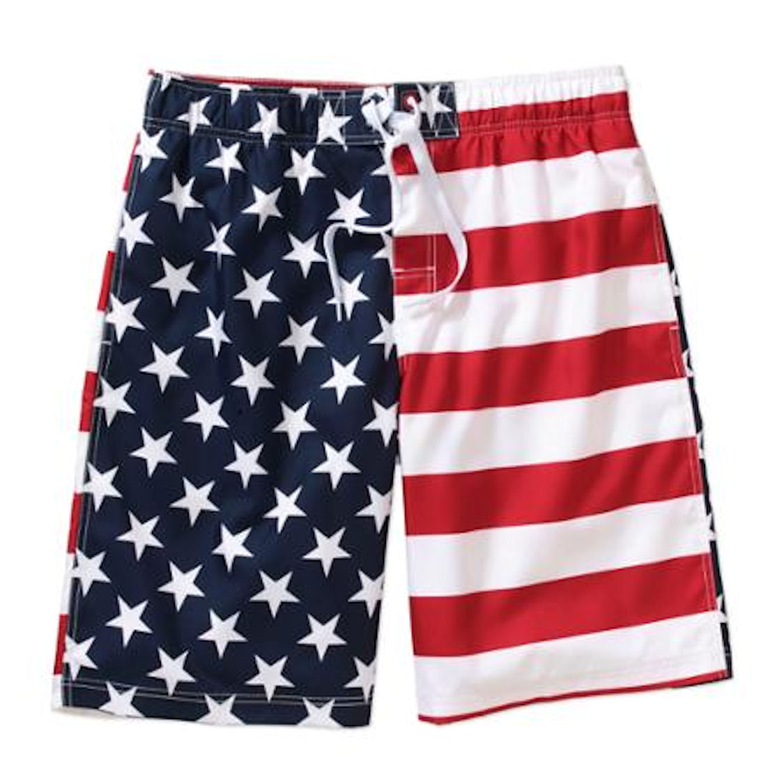 Faded Glory Men's Patriotic USA American Flag Swim Trunks (Medium)