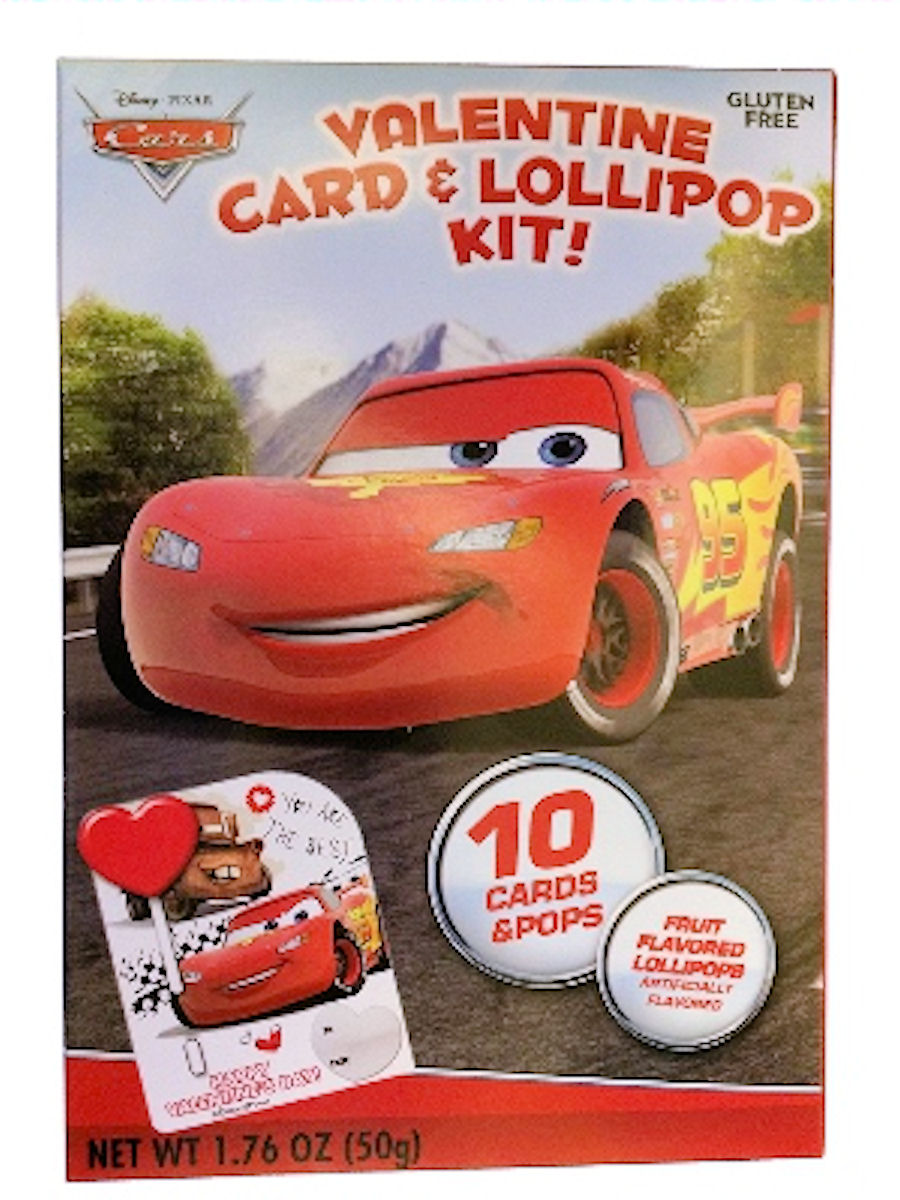 Disney Pixar Cars Valentines Card and Lollipop Kit
