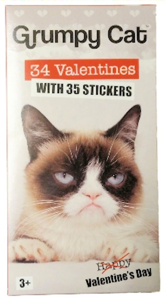 Grumpy Cat 34 Classroom Valentine Cards and Stickers